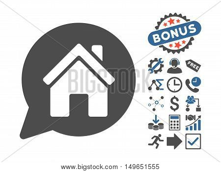 House Mention icon with bonus icon set. Glyph illustration style is flat iconic bicolor symbols, cobalt and gray colors, white background.