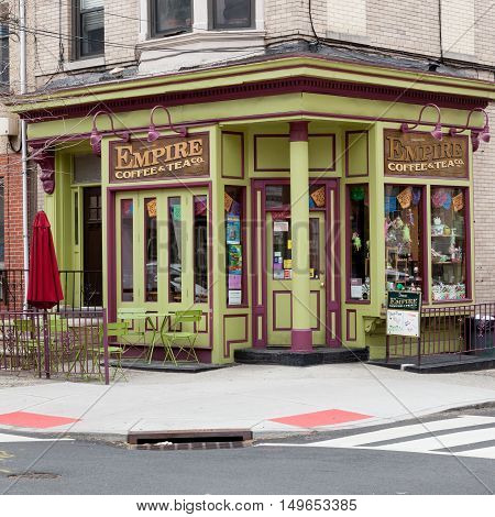 HOBOKEN NEW JERSEY - April 11 2016: The Empire Coffee and Tea Co. on an overcast spring morning.