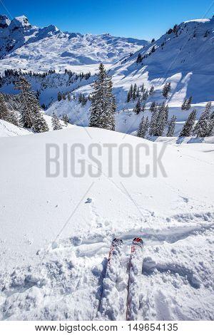 Skier Ready To Go Skiing On The Ski Slopes In Hoch-ybrig Ski Resort, Canton Schwyz, Central Switzerl