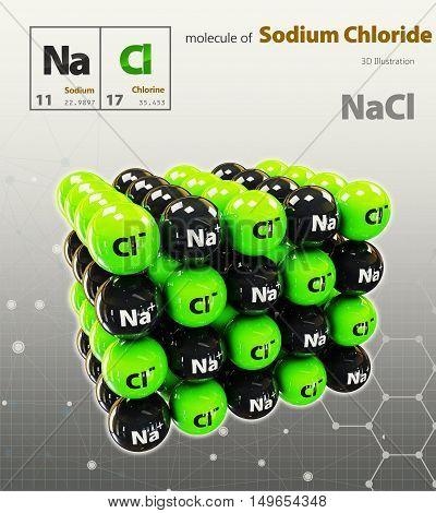 Illustration Of Sodium Chloride Molecule Isolated Grey Background