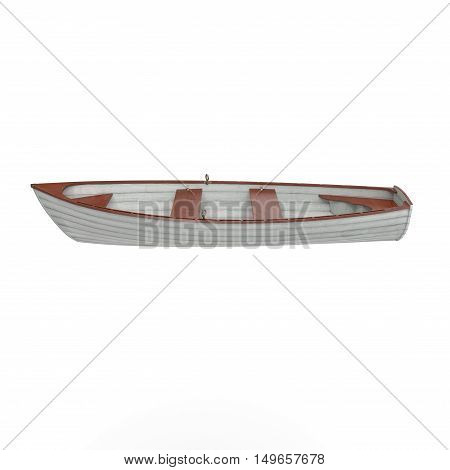 Fishing boat Isolated on white background. Side view. 3D illustration
