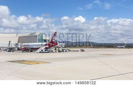 PALMA DE MALLORCA BALEARIC ISLANDS SPAIN - MAI 11 2016: Airport departure tarmac in Palma de Mallorca Balearic islands Spain on Mai 11 2016
