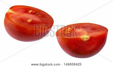 Cherry tomato cut in half. The image is a cut out isolated on a white background with a clipping path. The image is in full focus front to back.