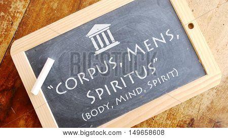 Corpus, Mens, Spiritus. A Latin phrase meaning Body, Mind, Spirit. Andrews University motto.