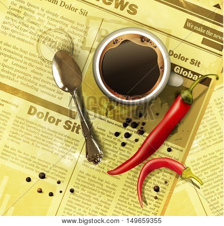 Cup of coffee teaspoon with vegetables on old newspaper background