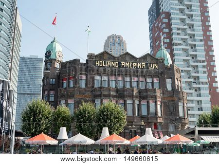 ROTTERDAM, NETHERLANDS - 15 SEPT. 2016: Former head office of the 'Holland America Line', a famous Dutch cruising company founded in 1873.The jugendstil building, a national monument, houses a hotel