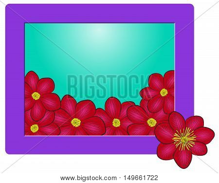 frame with dark red clematis flowers floral frame with place for your text vector illustration