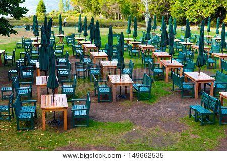 Jordan Pond Acadia National Park Maine US -- Sept 23 2016. Outdoor restaurant seating by Jordan Pond in the Acadia.  National Park Maine. Editorial Use Only.