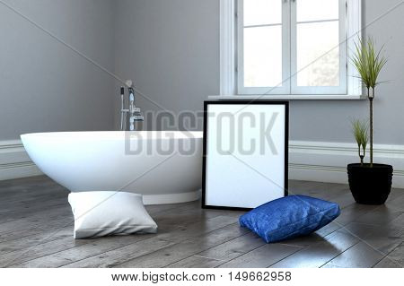 3D render of bathtub beside blue and white pillows on floor in room beside small tree in pot