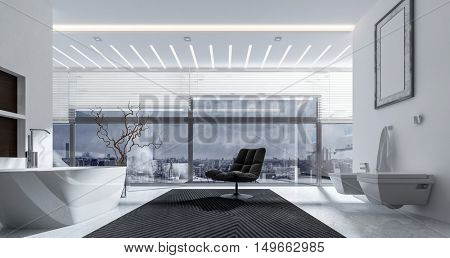 3D rendering interior of bathroom with chair, tub, toilet, bidet and bright ceiling lights