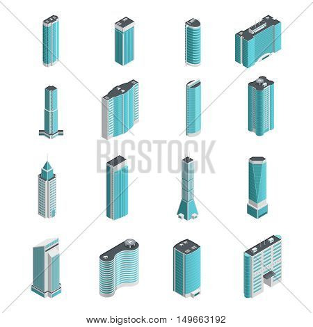 Modern many storeyed buildings and skyscrapers of different shape isolated on white background vector illustration