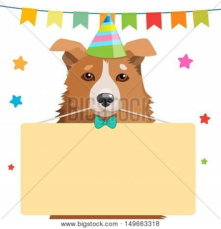 Cute Dog Holding A Sign Vector Illustration. Funny Dog With A Birthday Hat. Vector Greeting Card With Dog.