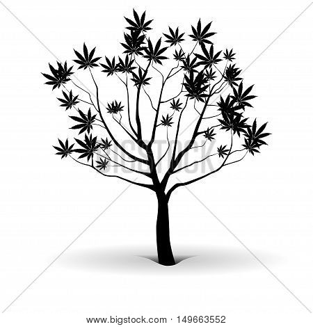 An illustration of a tree of joy in silhouette on a white background.