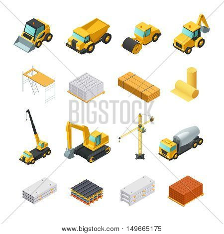 Colorful isometric construction icons set with various materials and transport isolated on white background vector illustration