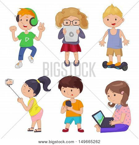 Cute cartoon children, smart device. Vector illustration Kids gadget. Boy girl characters set Headphones tablet selfie stick phone laptop Self Balancing Electric Skateboard Scooter on white background