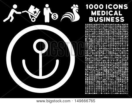 White Anchor glyph rounded icon. Image style is a flat icon symbol inside a circle black background. Bonus clipart contains 1000 healthcare business pictograms.