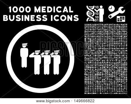 White Army Squad glyph rounded icon. Image style is a flat icon symbol inside a circle black background. Bonus set is 1000 medical business pictograms.