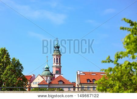 Warsaw city, Poland - view at old town from Visla river