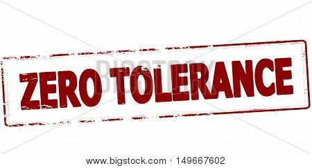 Rubber stamp with text zero tolerance inside vector illustration