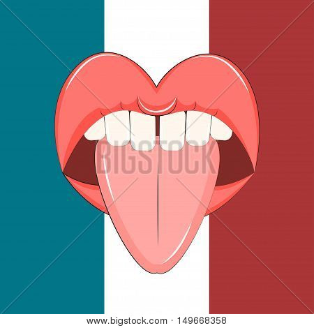 French kiss Vector illustration Open mouth with tongue sticking out on the background of the French flag Cartoon style