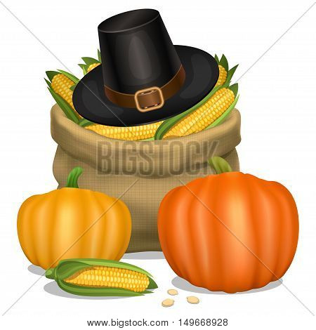 Happy Thanksgiving card. Hat of piligrim with orange pumpkins and bag full corn. Vector illustration