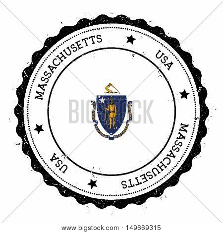 Massachusetts Flag Badge. Grunge Rubber Stamp With Massachusetts Flag. Vintage Travel Stamp With Cir