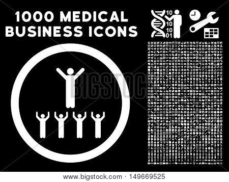 White Religion Adepts glyph rounded icon. Image style is a flat icon symbol inside a circle black background. Bonus clip art has 1000 medicine business design elements.