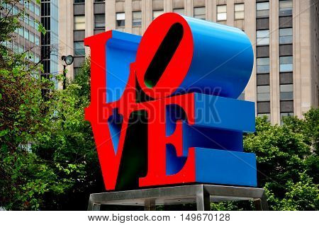 Philadelphia Pennsylvania - June 26 2013: Robert Indiana's famousn red blue and green LOVE sculputre in John F. Kennedy Plaza