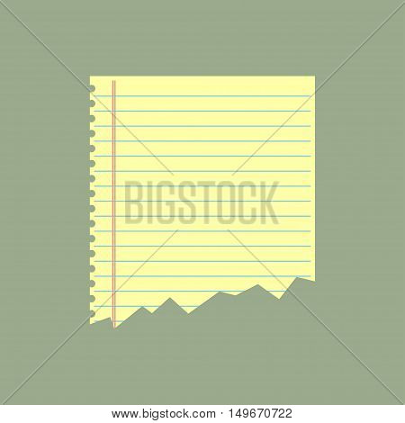 Ripped notebook paper. Notebook paper. Vector illustration