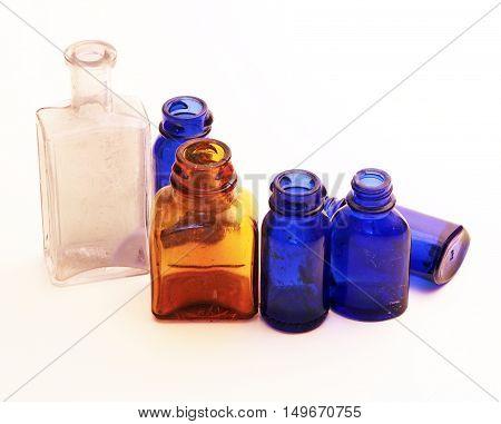 Vintage Old Bottles - Used for Medicine, Perfume, etc.
