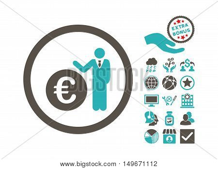 Euro Economist icon with bonus images. Vector illustration style is flat iconic bicolor symbols, grey and cyan colors, white background.