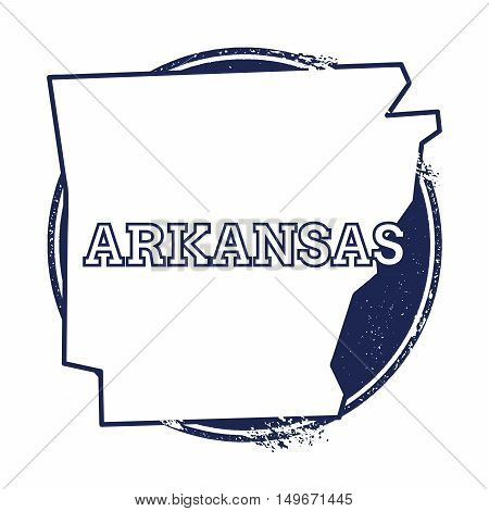 Arkansas Vector Map. Grunge Rubber Stamp With The Name And Map Of Arkansas, Vector Illustration. Can