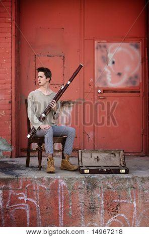 Young Caucasian Bassoon Musician