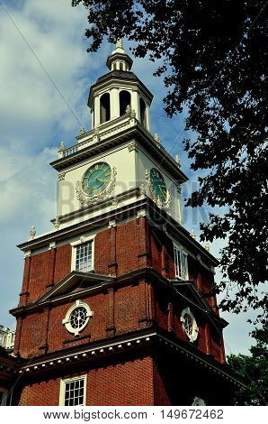 Philadelphia Pennsylvania - June 25 2013: The steeple cupola and clock tower of the south front of 1732-1753 Independence Hall