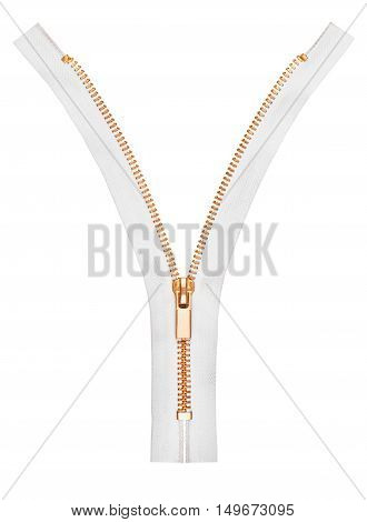 metal zipper with a white base on white background
