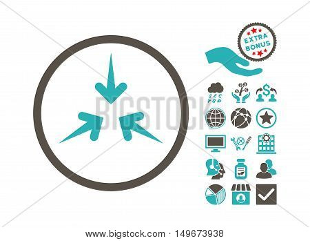 Impact Arrows icon with bonus pictograph collection. Vector illustration style is flat iconic bicolor symbols, grey and cyan colors, white background.