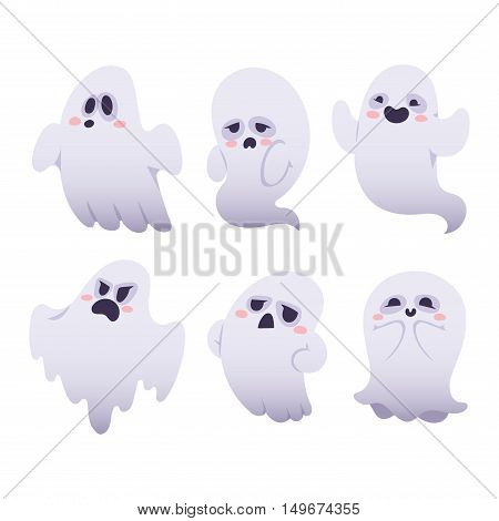 Cartoon spooky Ghost character vector set. Spooky and scary holiday monster design ghost character. Costume evil silhouette ghost character creepy funny cartoon cute spooky night symbol.