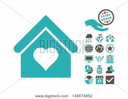 Love House pictograph with bonus clip art. Vector illustration style is flat iconic bicolor symbols, grey and cyan colors, white background.