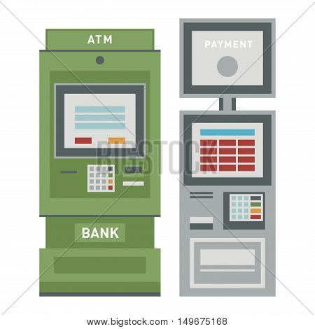 ATM pos-terminal and hand credit card icons. Credit transfer mobile service atm icons money cash credit card. Money credit currency cash sign atm icons banking payment dollar set.