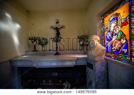Buenos Aires Argentina - Sept 23 2016: Interior view of a tomb with stained glass at the La Recoleta Cemetery in Capital Federal.