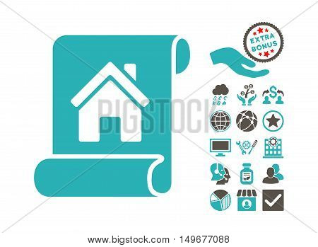 Realty Description Roll icon with bonus pictograph collection. Vector illustration style is flat iconic bicolor symbols, grey and cyan colors, white background.