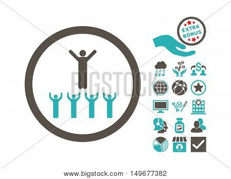 Religion Adepts icon with bonus pictograph collection. Vector illustration style is flat iconic bicolor symbols, grey and cyan colors, white background.