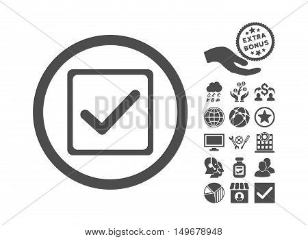 Checkbox pictograph with bonus images. Vector illustration style is flat iconic symbols gray color white background.