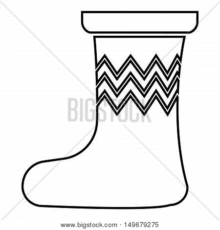 Christmas sock icon in outline style isolated on white background. New year symbol vector illustration