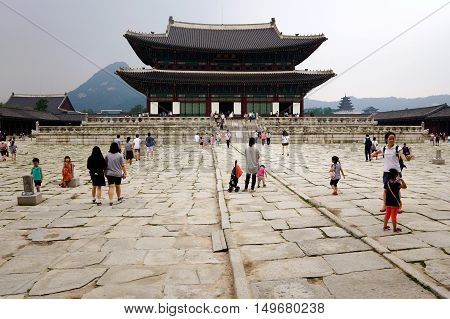 SEOUL SOUTH KOREA - MARCH 08: This is inside Gwanghwamun palace a famous landmark in Seoul where many tourists come to see Korean history on March 08th 2014 in Seoul.