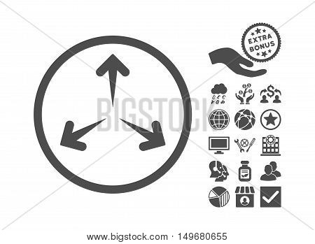 Expand Arrows pictograph with bonus icon set. Vector illustration style is flat iconic symbols gray color white background.