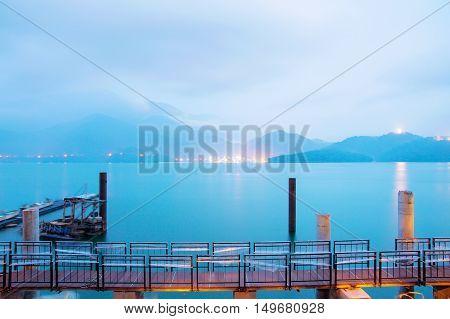 Beautiful night view of Sun moon lake with bridge