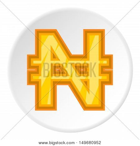 Sign of money naira icon in cartoon style on white circle background. Currency symbol vector illustration