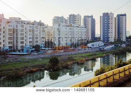 Taken from a railway track this is a view of some apartment buidlings in Ningbo China