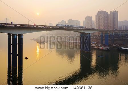 Sunset over the Yangtze river in Chongqing China